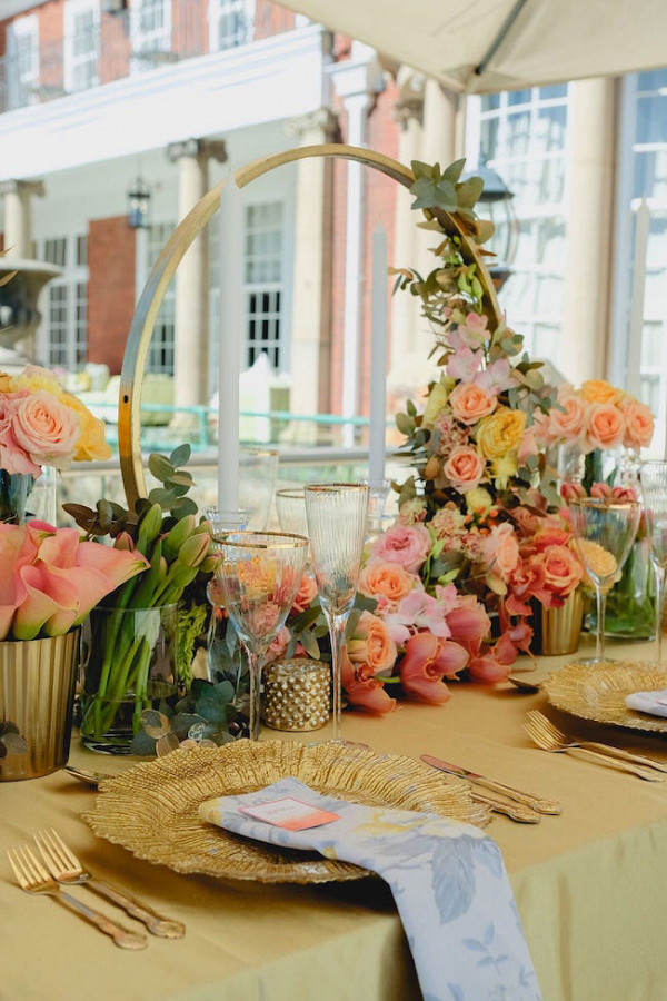 Tablescape with Hoop Centerpiece