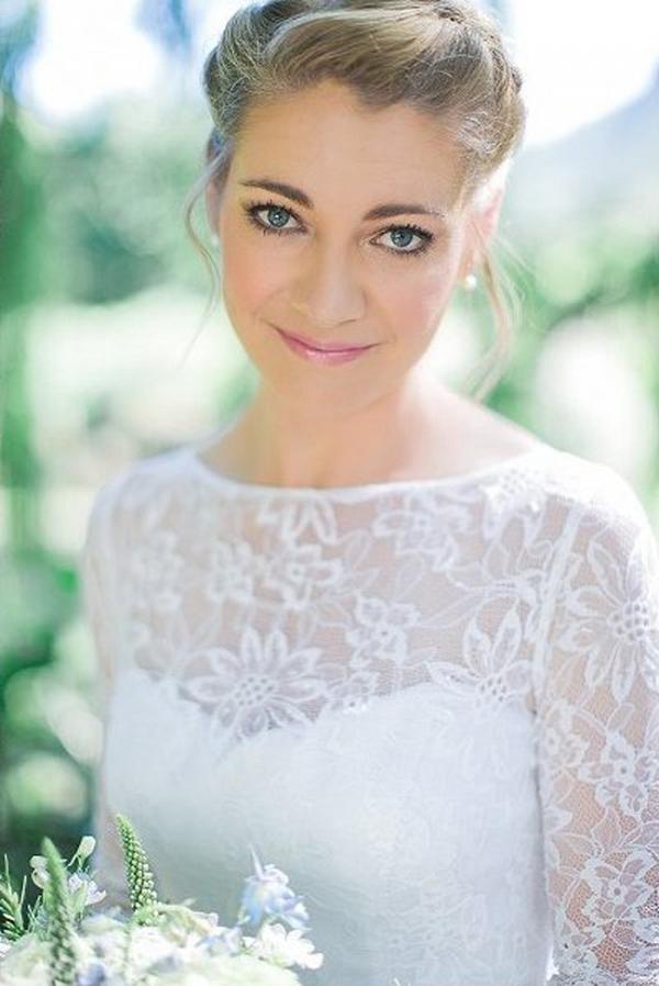 Bride in Lace Sleeve Wedding Dress