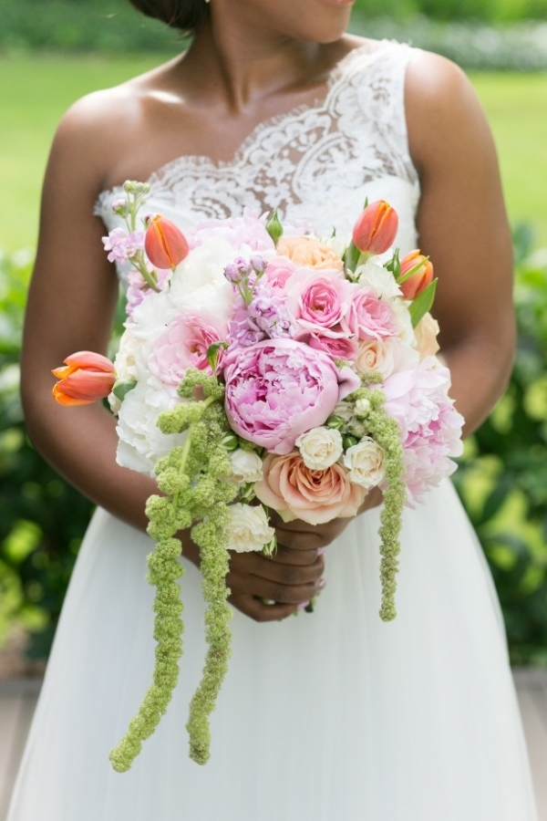 Colorful peony & tulip bouquet