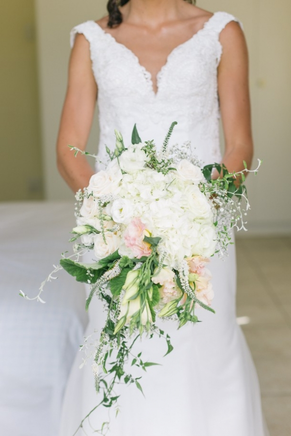 Blush cascade wedding bouquet