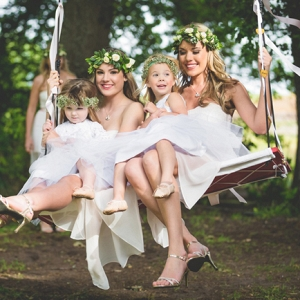 Bridesmaids on swing