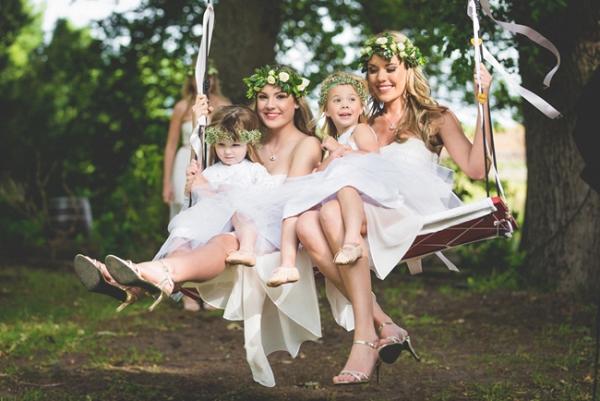 Bridesmaids on swing