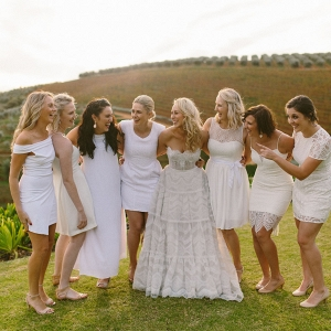 Mismatched White Bridesmaid Dresses