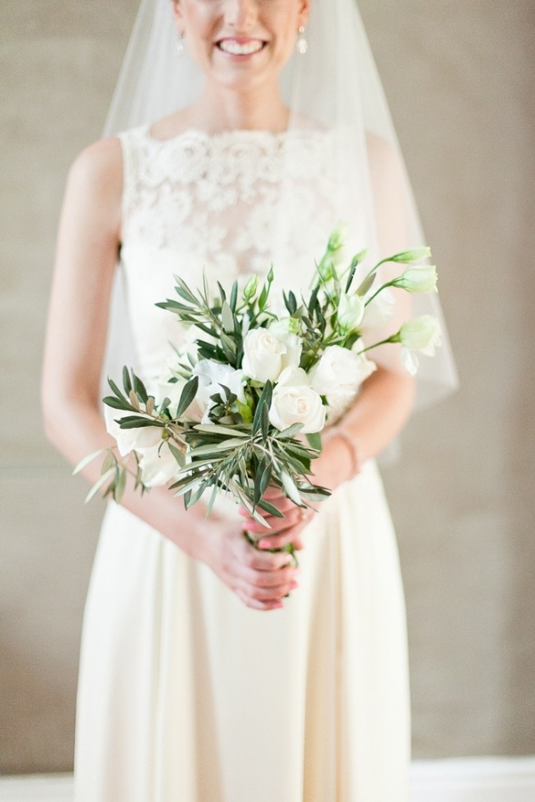 Lace dress with olive & rose bouquet