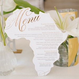 Africa Shaped Menu Card