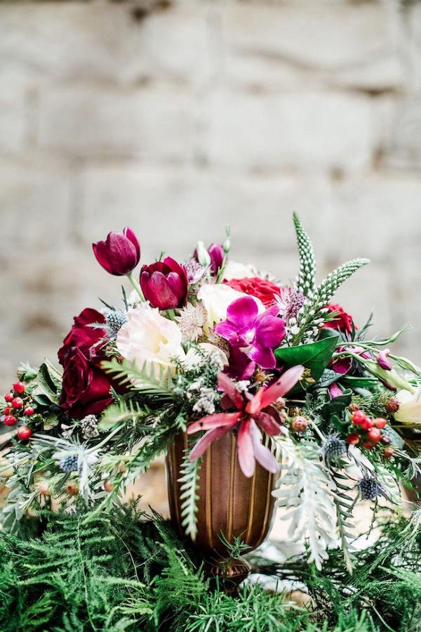Jewel Tone Floral Centerpiece
