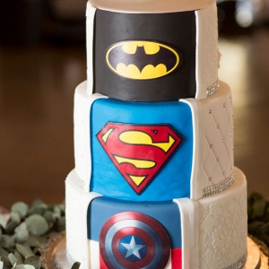Superhero Surprise Wedding Cake