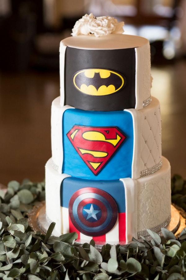 Superhero Surprise Wedding Cake