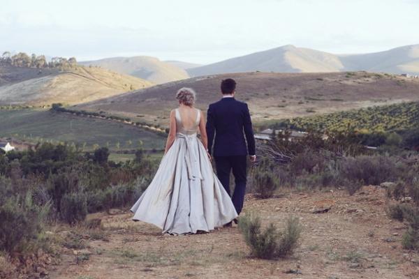 Bride & groom in South African landscape