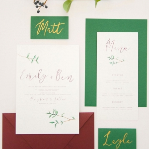 Emerald & Burgundy Invitation Suite