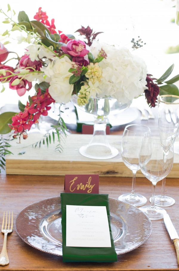 Emerald and Burgundy Place Setting