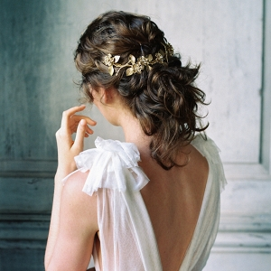 Bride with gold hairpiece