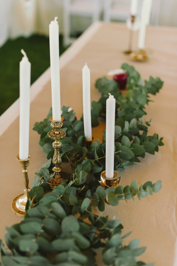 Candles, Greenery and Apple Runner