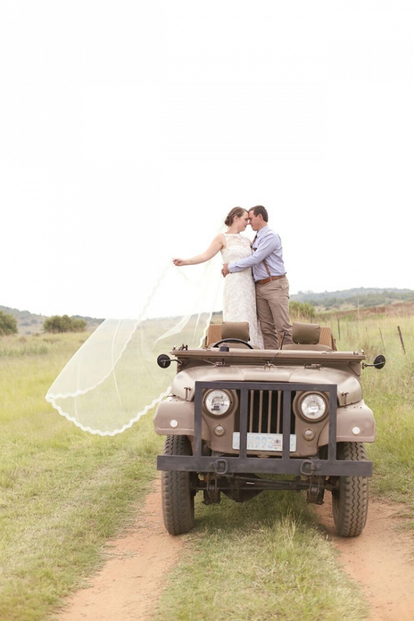 Bride & Groom on Landrover