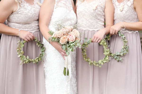 Bridesmaids with Wreath Bouquets