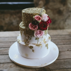 Wedding Cake with Gold Texture
