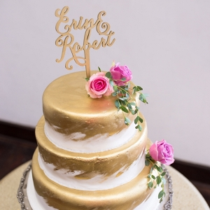 Gold Painted Wedding Cake with Lasercut Topper