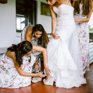 Bridesmaids in floral print dresses