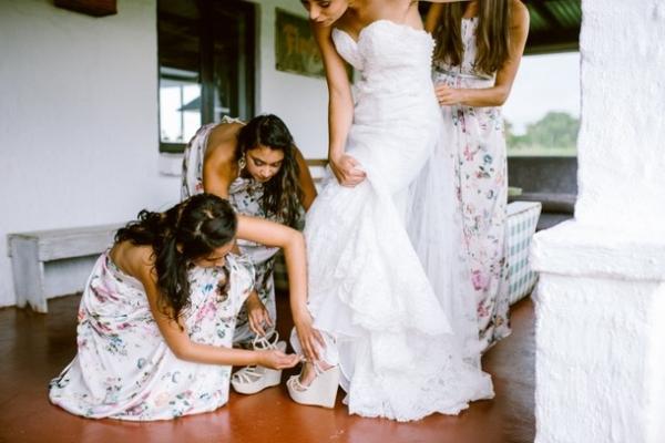 Bridesmaids in floral print dresses