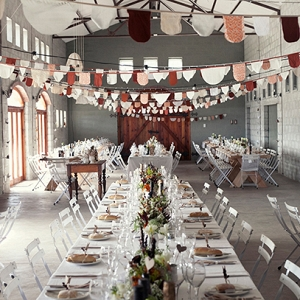 Reception Decor with Doily Bunting