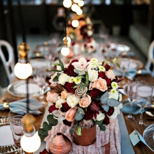 Vintage industrial wedding tablescape