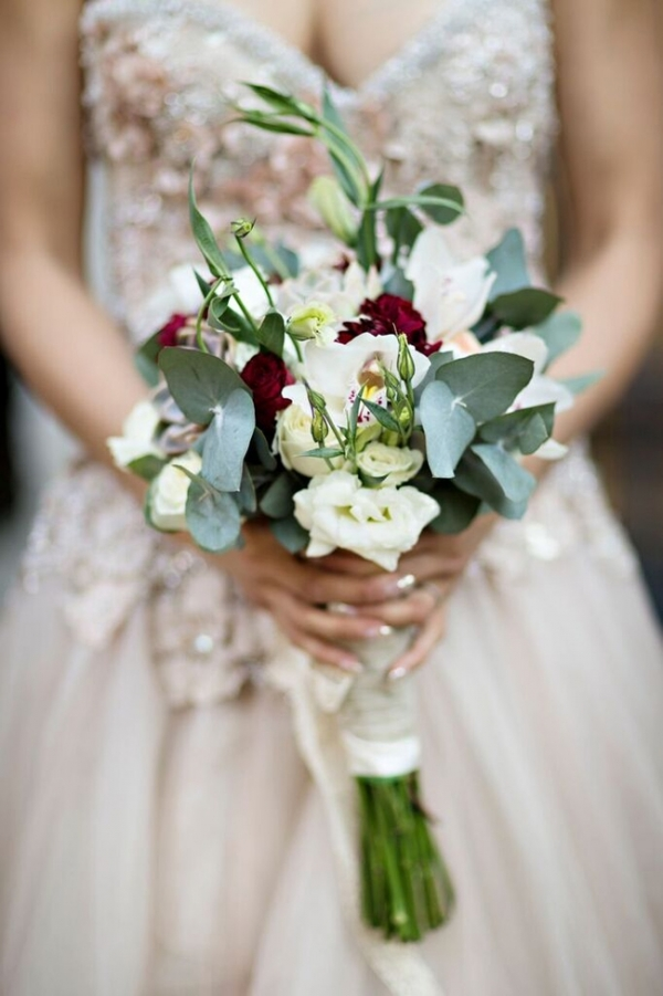 White & Marsala Wedding Bouquet