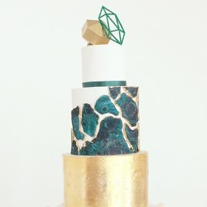 Green Geode & Gold Wedding Cake