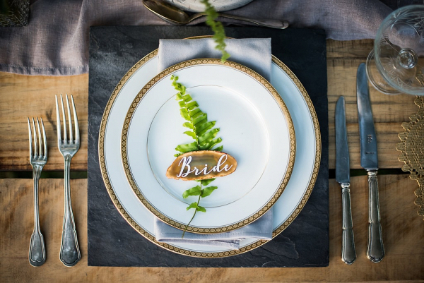 Place Setting with Fern & Geode Slice