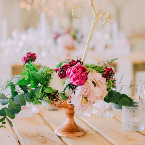 Lush Floral Centerpiece with Table Number