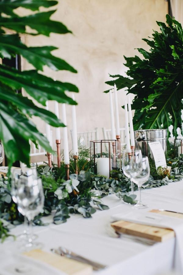 Copper & Greenery Table Decor