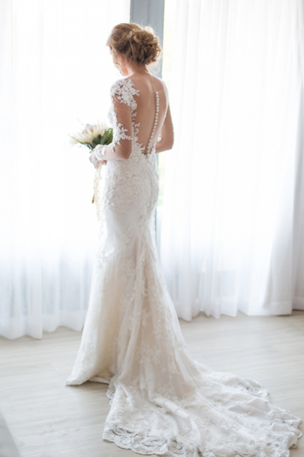 Bride in Illusion Lace Wedding Dress