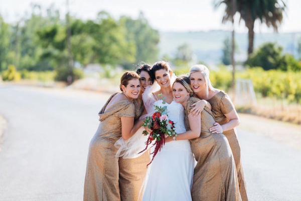 Bridesmaids in Gold Dresses