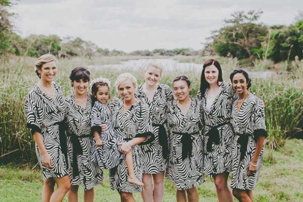 Bridesmaids in Zebra Print Robes