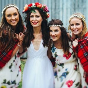 Boho bridesmaids in floral print dresses
