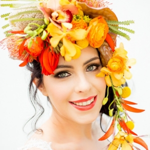 Bright tropical flower crown