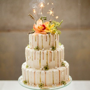 Metallic drip cake