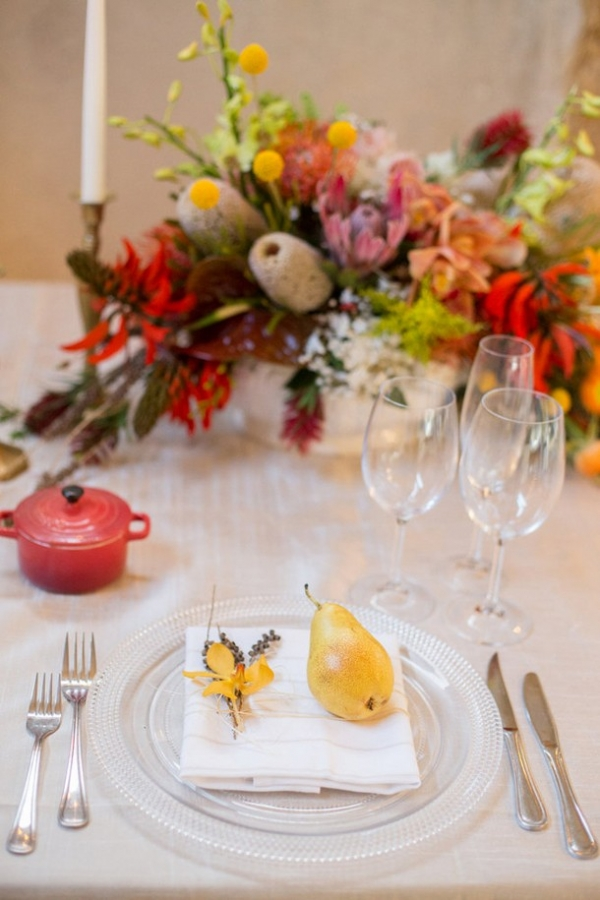 Bright place setting with pear