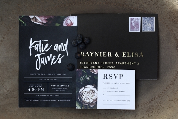 Black Floral Print Wedding Invitation