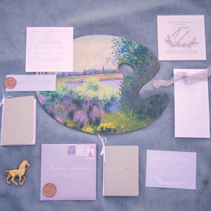 Lavender Invitation Suite with Painted Palette