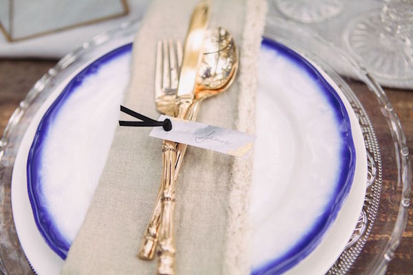 Indigo and Gold Place Setting