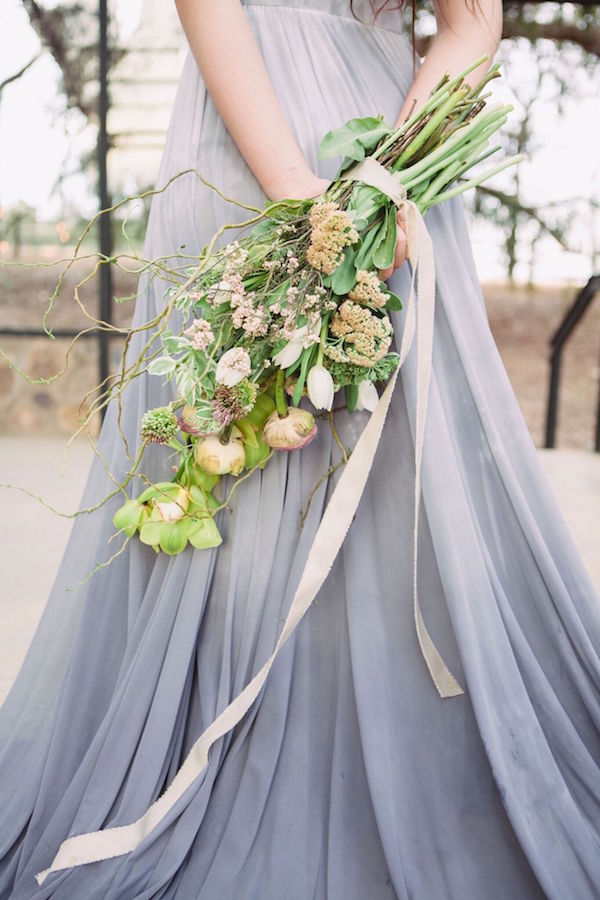 Organic Bouquet and Grey Ombre Wedding Gown