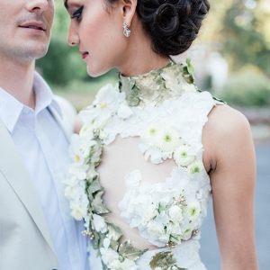 Real flower wedding dress