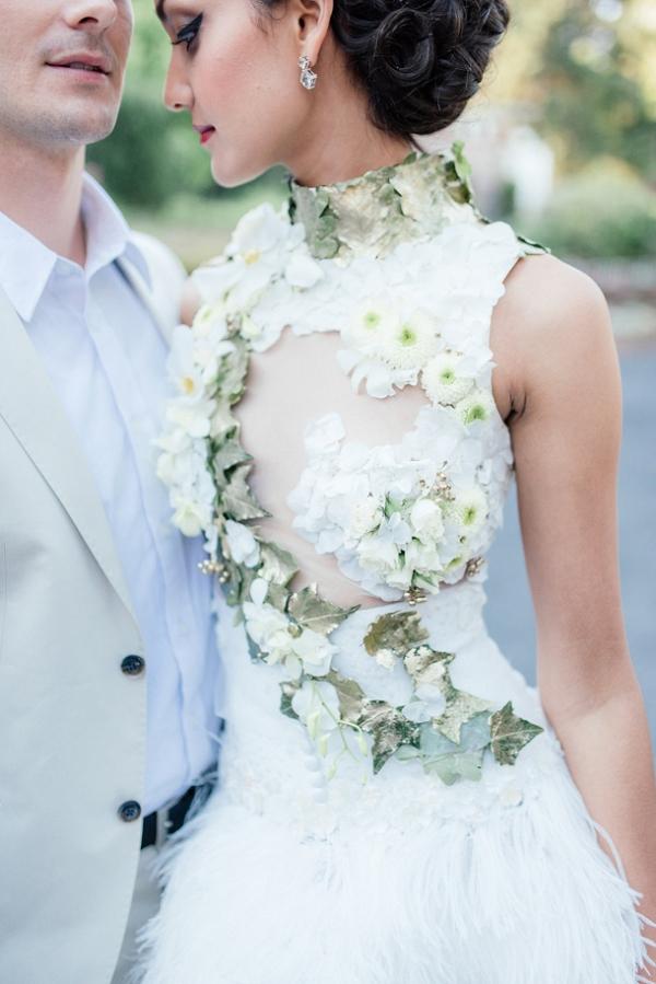 Real flower wedding dress