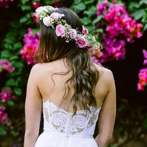 Bride in Flower Crown & Lace Back Dress