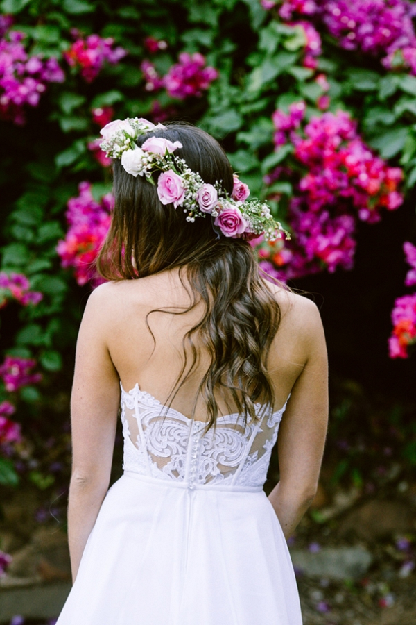 Bride in Flower Crown & Lace Back Dress