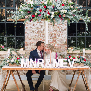 Sweetheart Table with Hanging Florals