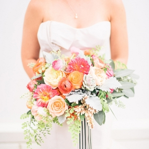 Peach & Coral Bouquet with Striped Ribbon