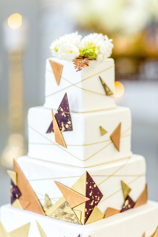 Modern Geometric Metallic Wedding Cake