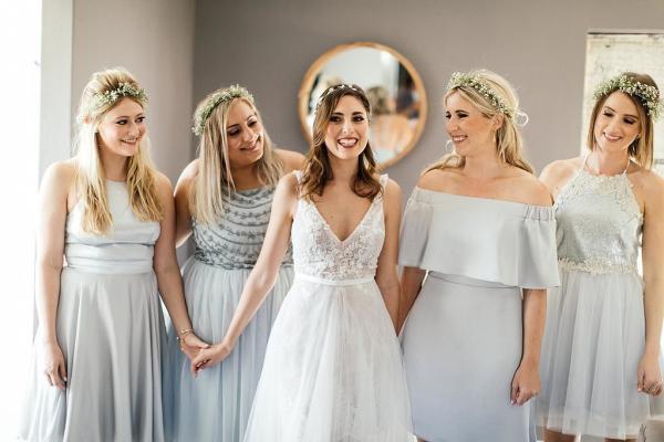 Mismatched Silver Bridesmaids Dresses