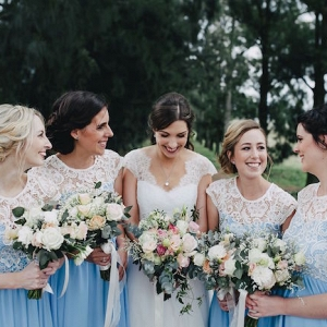 Serenity Blue Lace Bridesmaid Dresses